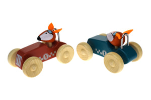 Retro Racing Car with Fox Driver