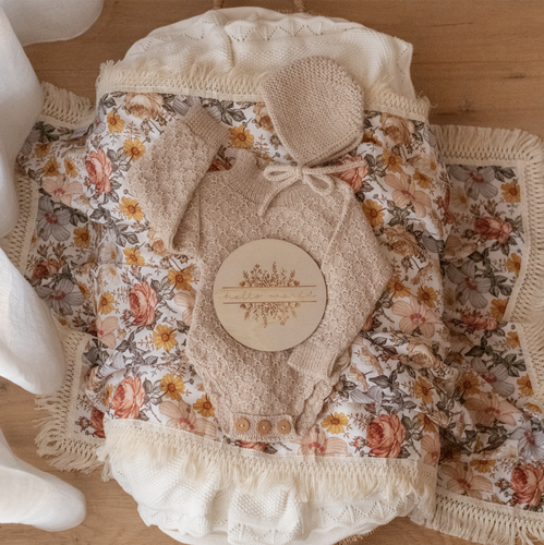 By Ziggy Lou - Peach Floral Swaddle with Natural Fringe