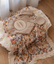 Ziggy Lou - Peach Floral Swaddle with Natural Fringe