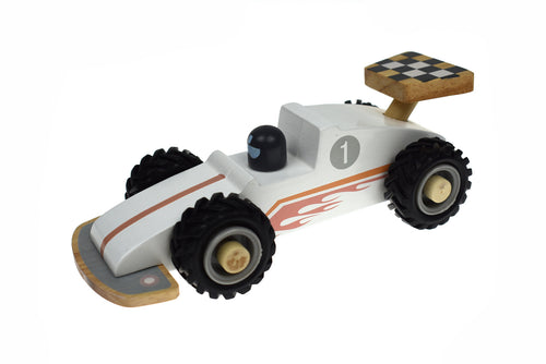 Wooden Race Car - White