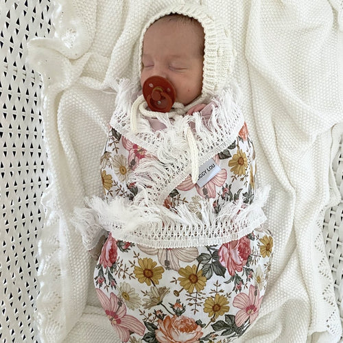 By Ziggy Lou - Pink & Yellow Floral Swaddle with Cream Fringe
