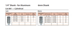 "Carbide Burr, Cylindrical Aluminium Cut - 3/8""(9.5mm)  cut 1/4""(6mm) shank 881"