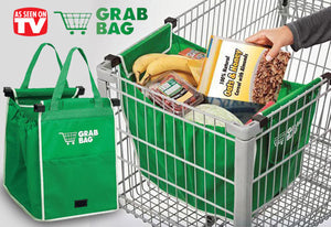 Grab Bag Reusable Shopping Bags with Cart Clips