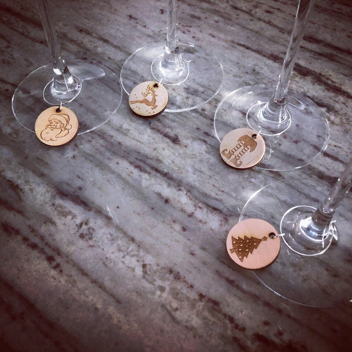 Christmas Themed Wine Charms