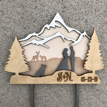 3 Layer Mountain Cake Topper with Deer