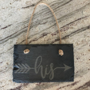 """His"" & ""Hers"" Slate Arrow Signs"