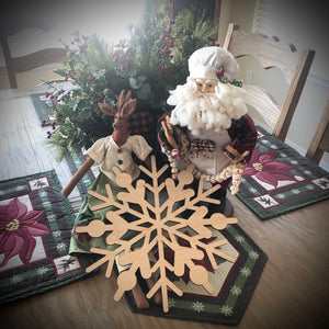 Snowflake Charger (wood trivet/wood placemat)
