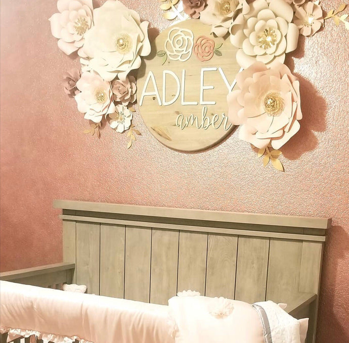Round Floral Name Board