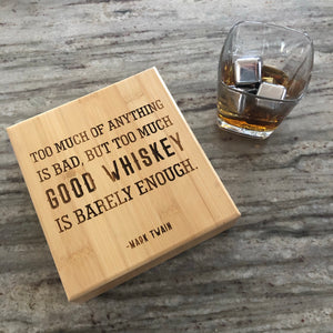 Engraved Whiskey Set - stainless steel whiskey stones
