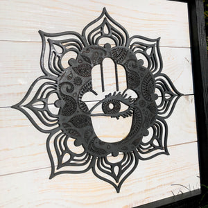 Hamsa Mandala Framed Plank Sign