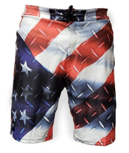 METALLIC AMERICAN FLAG BOARD SHORTS