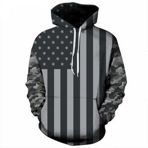 Black and White USA Flag Hoodie