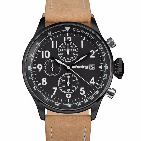 Analog Chronograph Military Watch - Leather