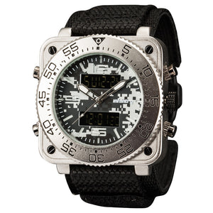 Analog/ Digital Military Wristwatch - Steel Multicam