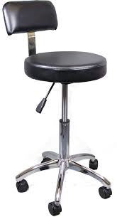 STOOL Black with Back and Aluminium Base