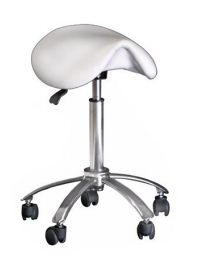 STOOL White Saddle with Aluminium Base