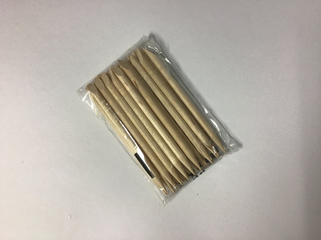 Cuticle Pusher Wooden Bevel & Point 7cm 25pk