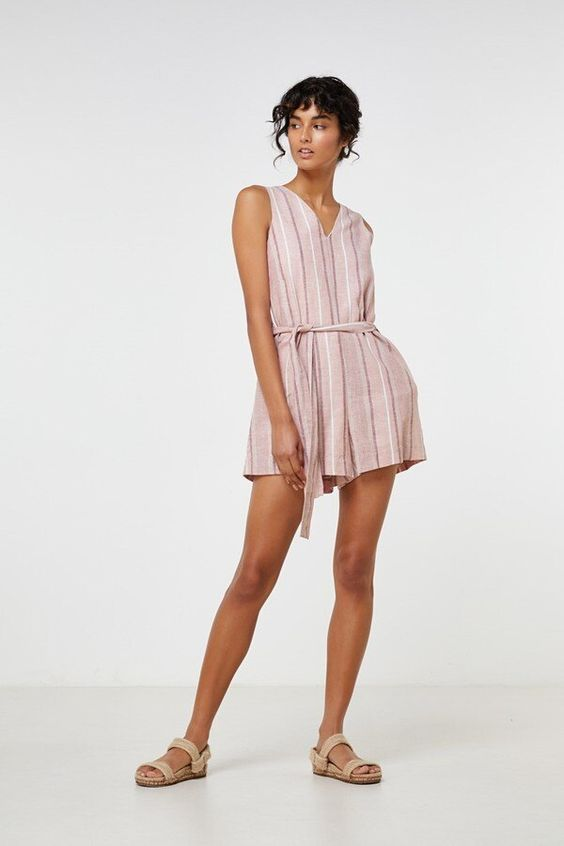 Florencia Playsuit Linen Stripe