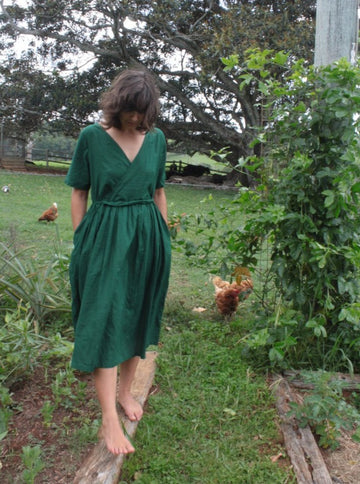 Fluidity Dress in Pine Green