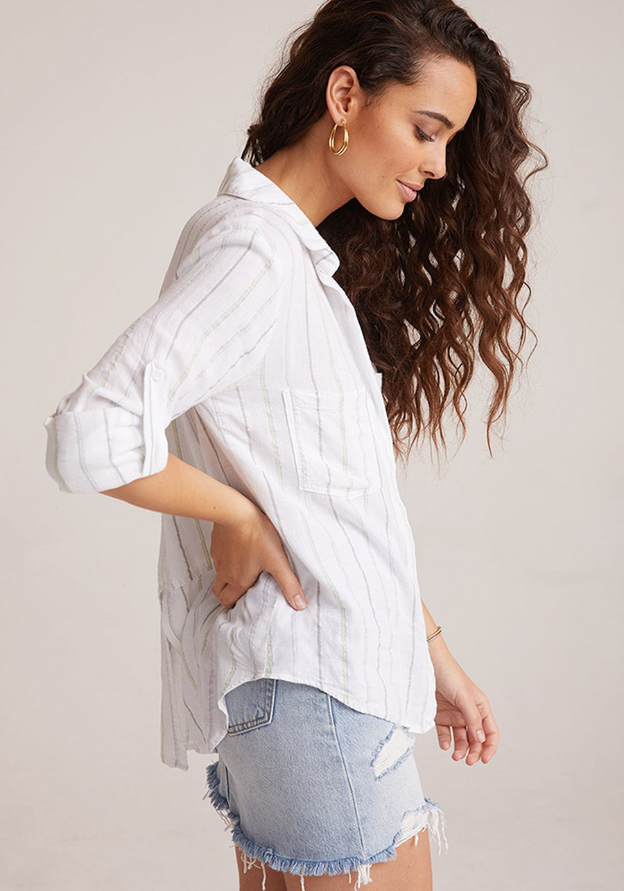 Split Back Button Down in Pastel Shimmer Stripe