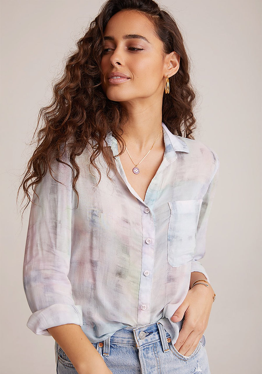 Rounded Hem Button Down in Pastel
