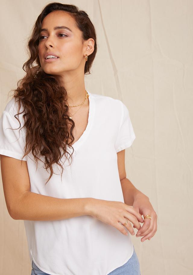 V Neck Tee in white
