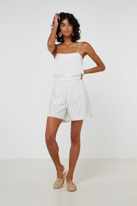 January Short	Linen Stripe