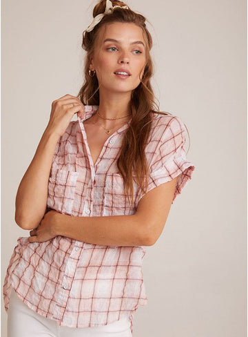 Rolled Short Sleeve Button Down in Coral