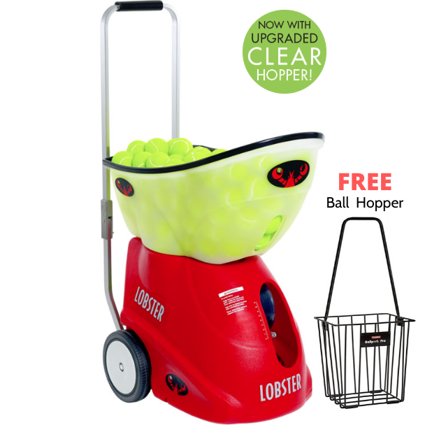 FREE Ball Hopper with Lobster Elite Grand Four Battery Powered Portable Ball Machine