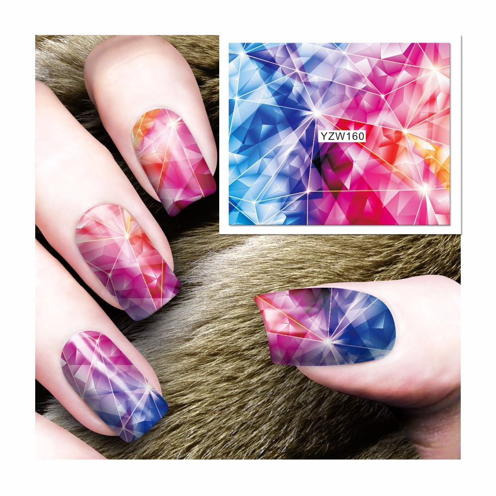 Dazzling Prisms Nail Decals or Water Transfer Nails Stickers | YayRush