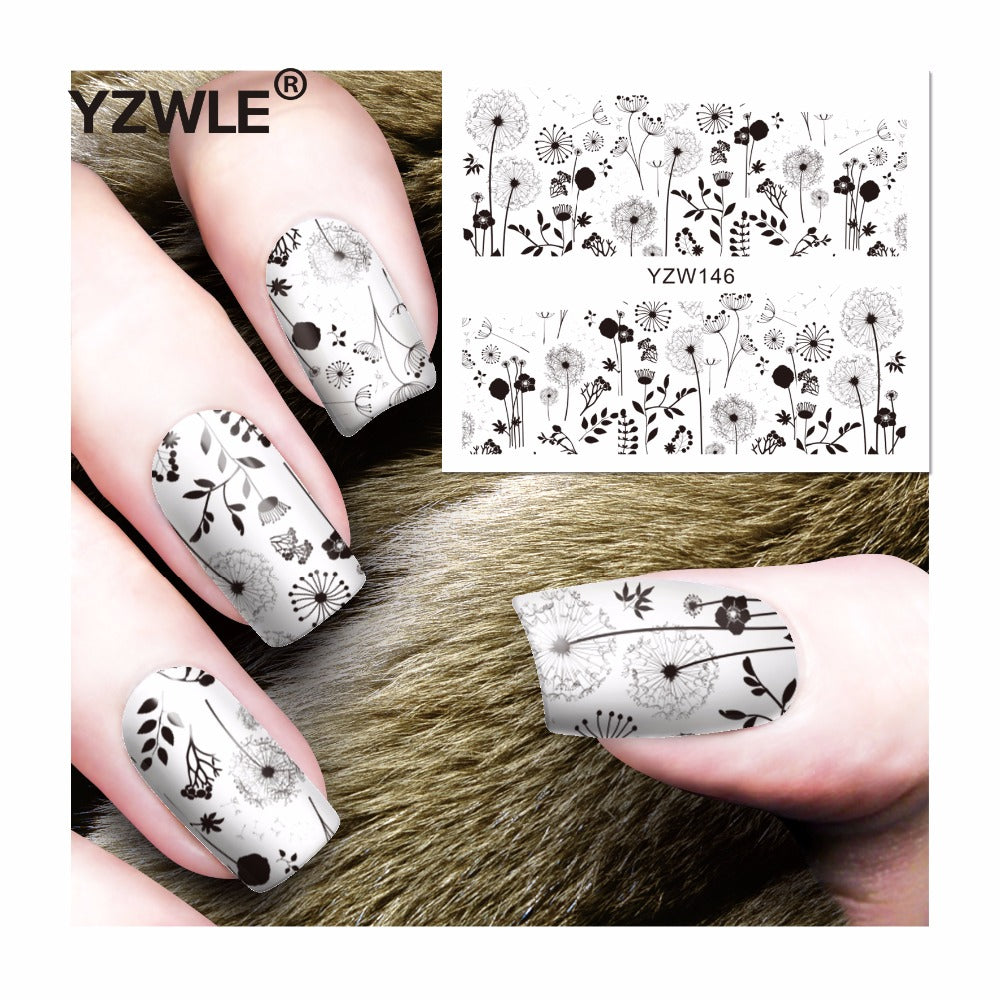 Black Dandelion Nail Decals or Water Transfer Nails Stickers | YayRush