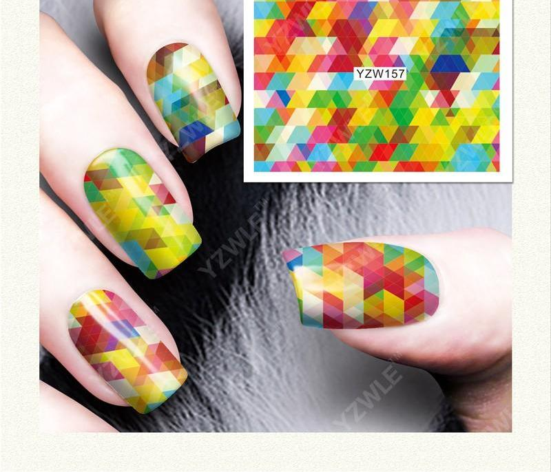 Colourful ZigZag Nail Decals or Water Transfer Nails Stickers | YayRush