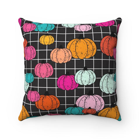 Colorful Splatter Painted Pumpkin Black Grid Halloween Throw Pillow
