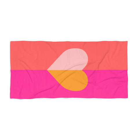 Color Block Heart Print Beach Towel