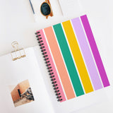 Totally 80's Stripe Spiral Notebook - Ruled Line