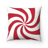 Red Candy Swirl Holiday Throw Pillow