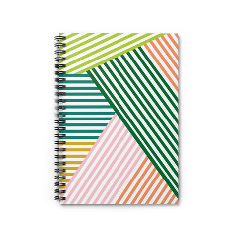 Green Geometric Stripe Spiral Notebook - Ruled Line