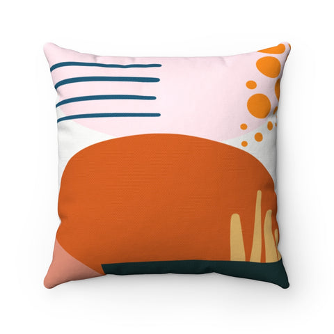 Rust and Blush Abstract Geometric Throw Pillow