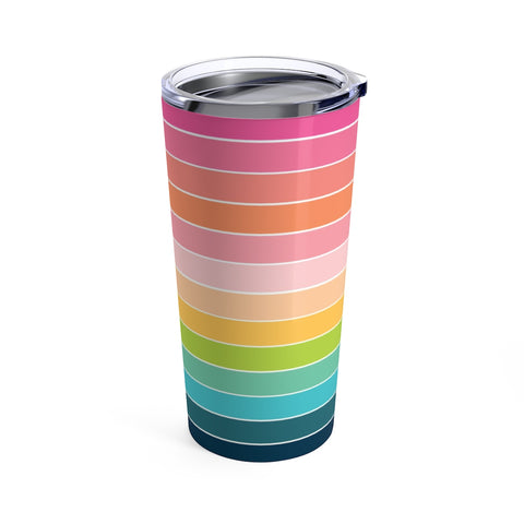 Rainbow Stripe Stainless Steel 20oz Tumbler