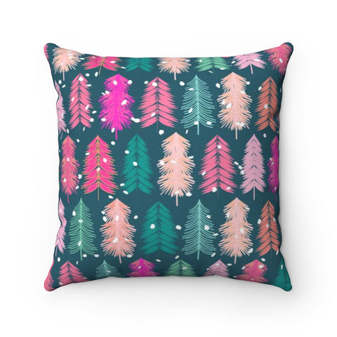Bottle Brush Tree Holiday Throw Pillow - Blue Background