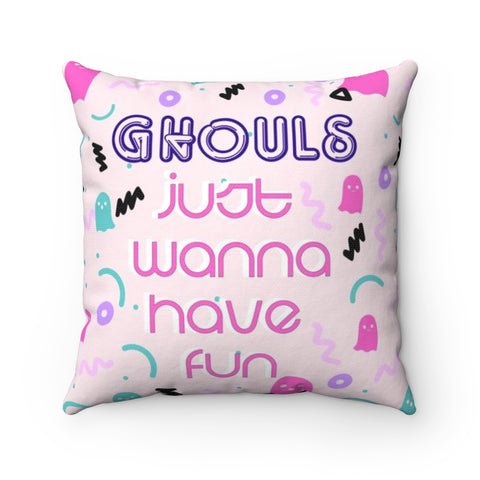 80's Inspired Ghouls Just Wanna Have Fun Halloween Throw Pillow
