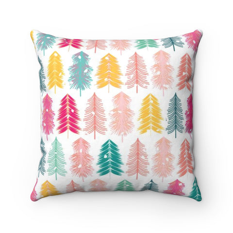 Bottle Brush Tree Holiday Throw Pillow - White Background