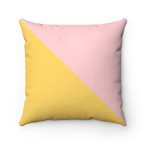Pink and Yellow Color Block Throw Pillow