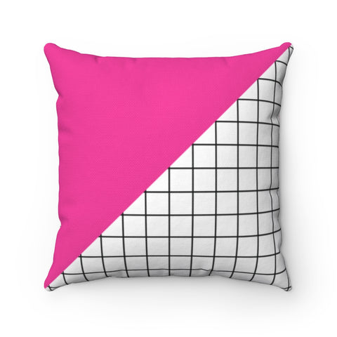 Hot Pink and Grid Color Blocked Throw Pillow