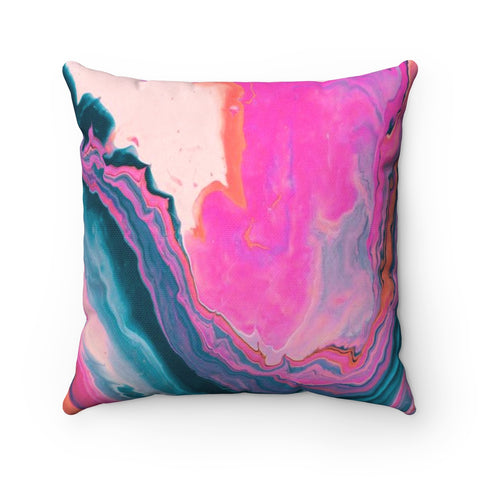 Navy and Pink Marble Pattern Square Throw Pillow