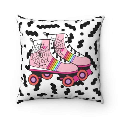 80's Inspired Halloween Rollerskate Throw Pillow