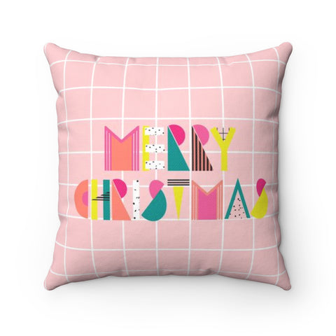 80's Merry Christmas Holiday Throw Pillow