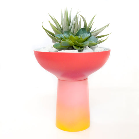 Gradient Planter - Strawberry Red to Peach Ombre