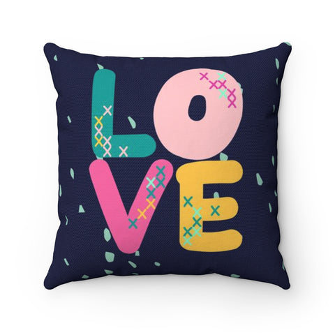 Blue Cross Stitch Love Valentine's Throw Pillow