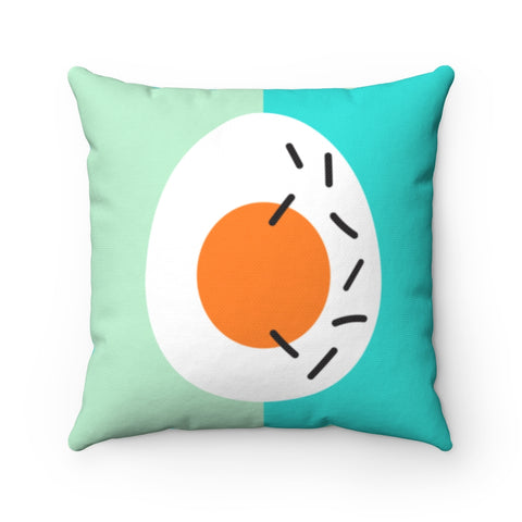 Memphis Easter Egg in Turquoise and Mint Throw Pillow